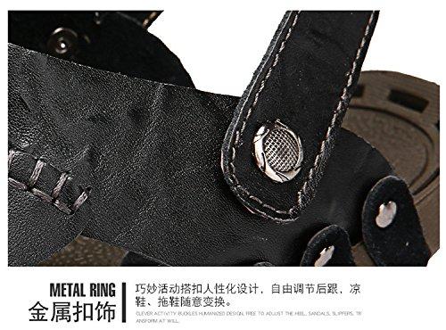 Mano per costruire vera pelle Uomini sandali Spiaggia scarpa Protezione ambientale Doppio uso sandali ,nero,US=8.5,UK=8,EU=42,CN=43