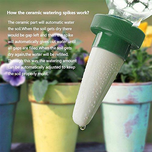 Queta 1Pcs Sistema de riego automático Planta de tiesto Botellas de cerámica de irrigación Jardín de riego perezoso Dispositivo de jardinería como en la ...