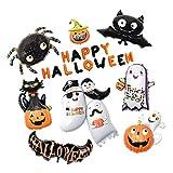 SM SunniMix Large Happy Halloween Letter Balloons Kit - Pumpkin Black Cat Ghost Bat Spider Set of 9