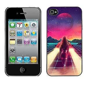 X-ray Impreso colorido protector duro espalda Funda piel de Shell para Apple iPhone 4 / iPhone 4S / 4S - Abstract Painting Space Sci-Fi Purple Stars