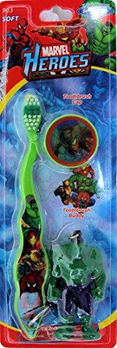 Marvel Heroes Avengers Toothbrush with Cap and Keychain Mini Figure ~ Spiderman, Hulk, Iron Man, Wolverine (Hulk)
