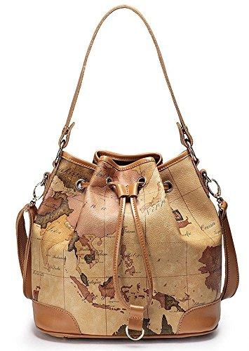 Nucelle Drape Map Print Shoulder Handbag Bucket Bag Satchel - Coach Colorful Handbags