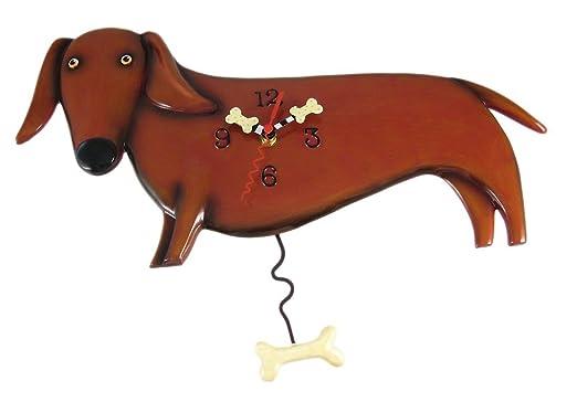 Amazon.com: Allen Designs Oscar Dachshund Dog Wall Clock Wiener: Home U0026  Kitchen