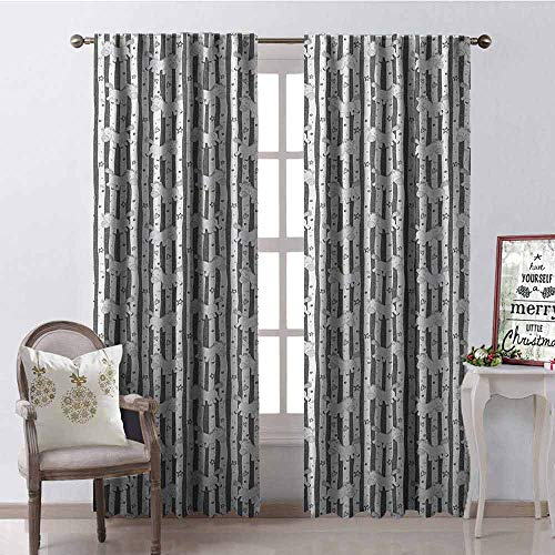 GloriaJohnson Kids Shading Insulated Curtain Vertical Stripes with Doodle Stars Hearts Dots and Funny Ponies Nursery Theme Soundproof Shade W42 x L84 Inch Grey White Black