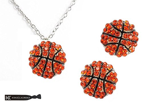 - Basketball Earrings Necklace Jewelry for Girls Perfect Basketball Gifts for Women Silver Sport Fashion Post Kenz Laurenz (Silver)