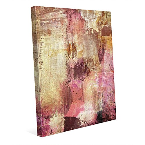 Temple of Sound: Distressed Modern Contemporary Abstract Graphic Fiber-pattern Painting in Muted Colors Purple Yellow-Gold Brown Pink Magenta White Beige Wall Art Print on Canvas