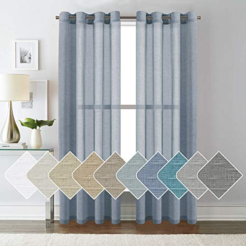 Denim Curtain Panel - H.VERSAILTEX Open Weave Linen Curtains 84 Inches Long Semi Sheer Denim Curtains - Privacy Added Nickel Grommet Linen Curtain Panels for Living Room/Bedroom (2 Panels)