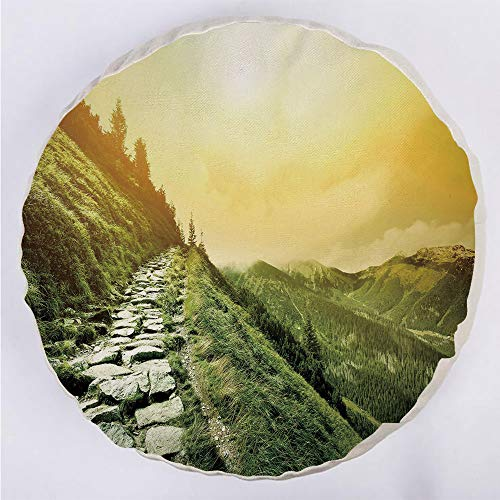 YOUWENll Round Decorative Throw Pillow Floor Meditation Cushion Seating/Mountain Valley Path of Life Alone Zen Dawn Summer Landscape Decorative/for Home Decoration 17