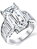 Angelina Jolie Sterling Silver Engagement Wedding Ring w/ Emerald Cut Cubic Zirconia 10 x 16 MM CZ