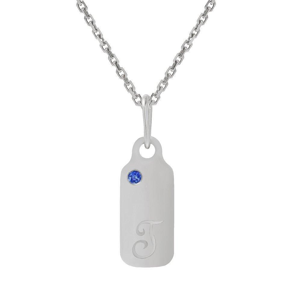 14k Gold Blue Sapphire September Birthstone Cursive Letter T Dog-tag Necklace