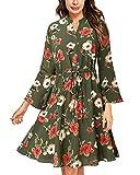 VIUVIU Women V Neck Flare Half Sleeve Dress Floral A Line Swing Midi Dresses with Pocket (Green XL)