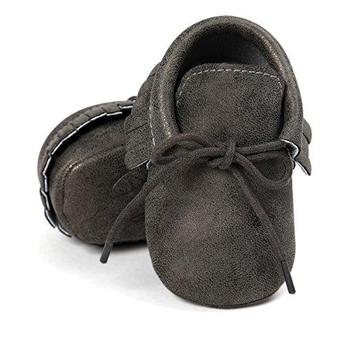 Bronze Baby Shoe - Baby Boys Girls Moccasins Soft Sole Tassels Prewalker Anti-Slip Shoes (L:12~18 Months, PU Bright Black)