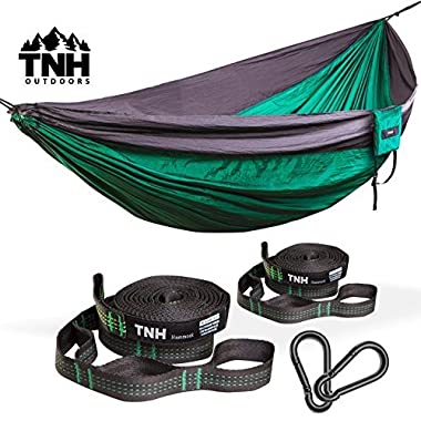 #1 Premium Double Camping Hammock & Bonus Straps By TNH Outdoors - Premium Quality Hammock - Strong 9ft Straps With 30 Hitch Points - Larger 10x6.6ft Hammock