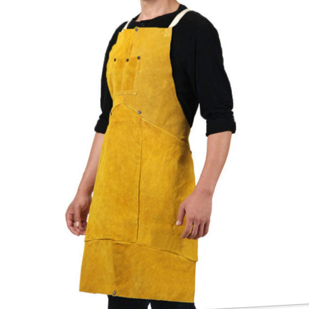 Phoenixfly99 Leather Welding Bib Apron Cowhide Split Leather Safety Apparel Flame Resistant Apron With Pocket Yellow (28-Inch By 39-Inch)