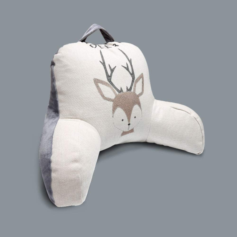 13x22inch Cotton Bed Rest Pillow Chair Backrest Lumbar Back Support for Sitting Up Pregnant Women-Bear 33x56cm Large Plush Reading Pillow Arms