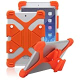 "Tsmine NuVision TM800W560L 8"" Tablet Silicone Shockproof case -Universal Elastic Stand Soft Skin Cover,Orange"
