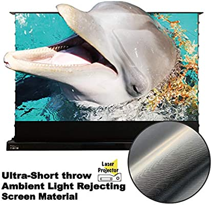 VIVIDSTORM Motorized Floor Rising Projection Screen for 4K Ultra Short Throw Laser Projector,120 inch Diag 16:9, Ultra-Short Throw Ambient Light ...