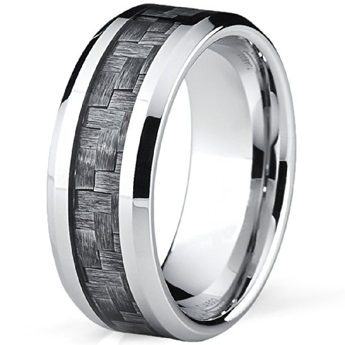 High Polish Cobalt Mens Wedding Band Engagement Ring W Gray Carbon