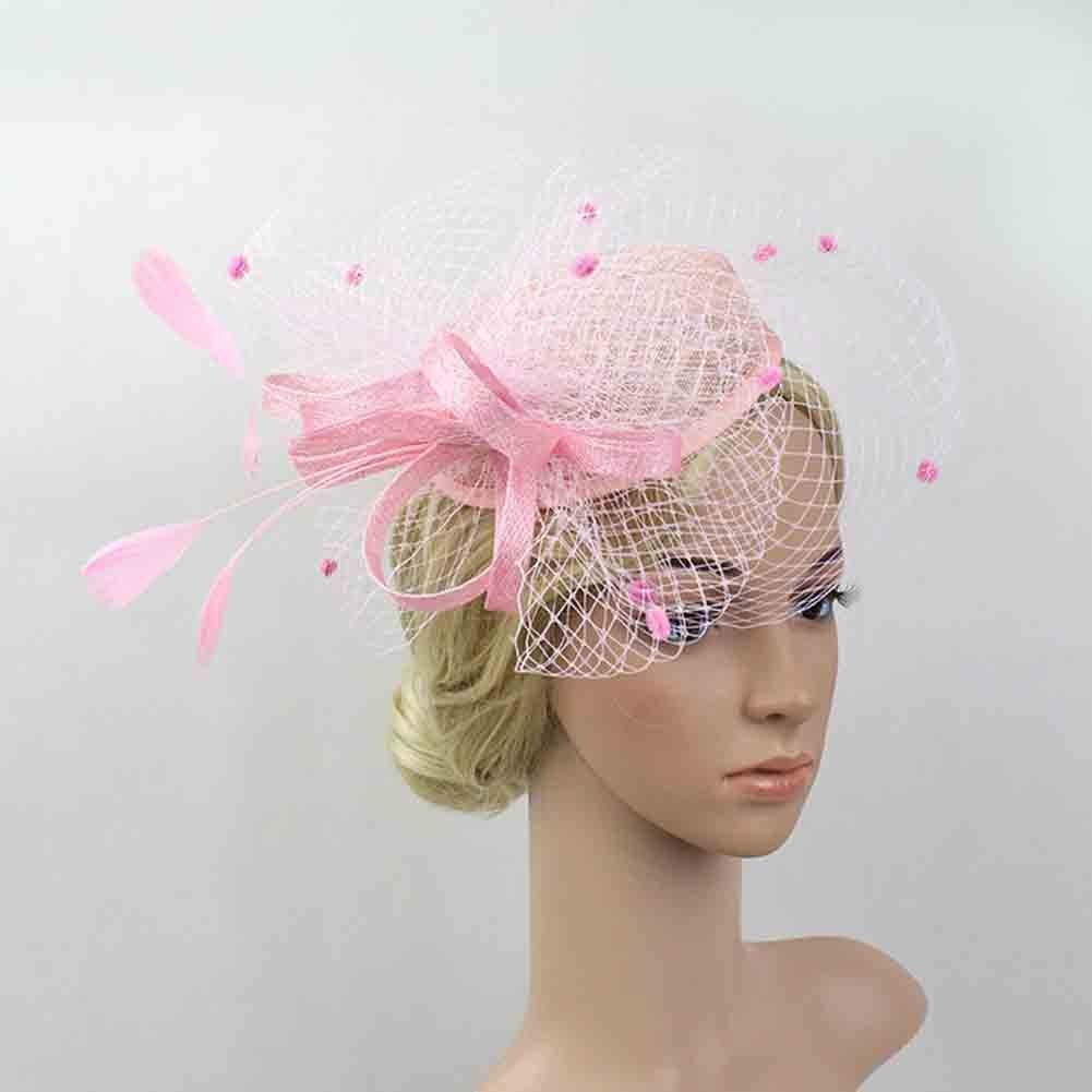 JasmineLi Retro Stylish Hair Hat Bridal Wedding Feather Mesh Fascinator Veil Hair Decorations