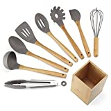 NEXGADGET Silicone Kitchen Utensils Set 9-Piece Cooking Utensils Set with Bamboo Wood Handles for Nonstick Cookware, Utensils Holder Cooking Tongs Whisk Ladle Spatula Spoon Turner Spaghetti Server Included