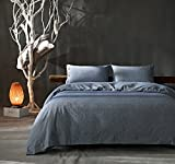 Kiss&tell Linen Cotton Soft Solid Color Wrinkle Count Egyptian Quality King Duvet Cover Bedding Set, Blue
