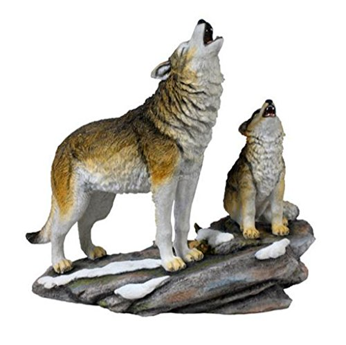 Howling Wolf Statue - Howling Wolf and Cub, Polystone, Statue Figurine