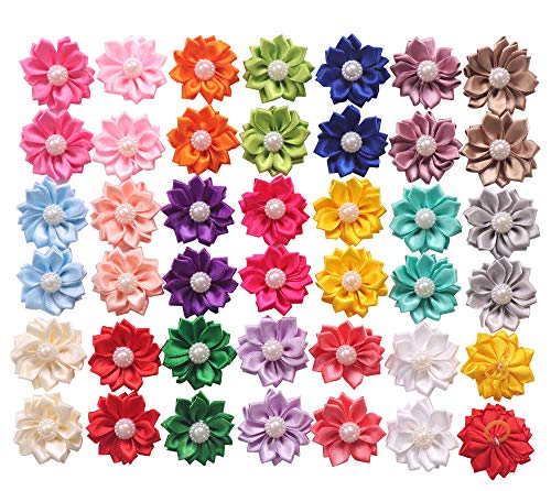(YAKA 40PCS(20Paris) Cute Dog Hair Bows with Rubber Bands Pearls Flowers Topknot Dog Bows Pet Grooming Products 20 Colors)