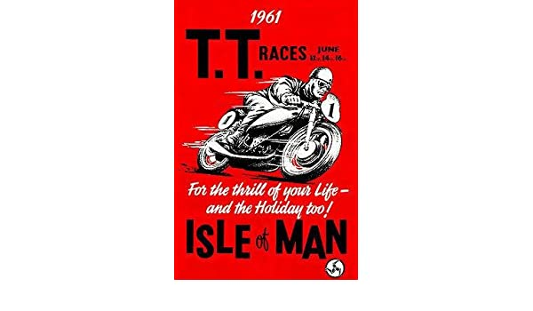 TT ISLE OF MAN 1956 RACE STRETCHED AND FRAMED CANVAS