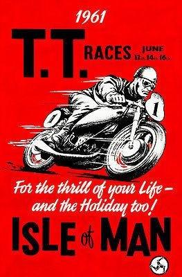 1961 Isle of Man TT Race - Promotional Advertising Poster