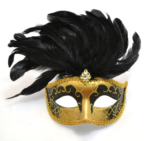 Venetian Style Mask with Feather in -