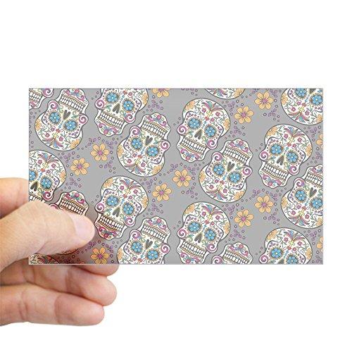 CafePress - Sugar Skull Halloween Grey Sticker (Rectangle) - Rectangle Bumper Sticker Car Decal