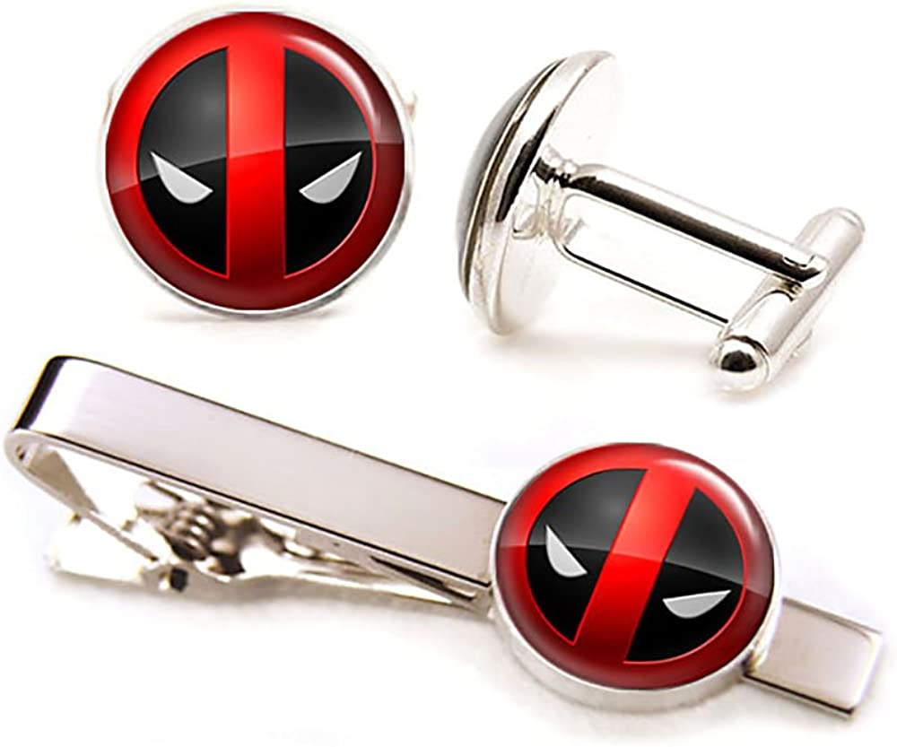 SharedImagination Deadpool Cufflinks, X-Men Tie Clip, Avengers Tie Tack, Marvel Jewelry, Link, Groomsmen Gift Wedding Party Gifts Father's