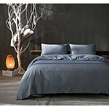 Kiss&tell Cotton Linen Wrinkle Count Egyptian Quality Duvet Cover Set, Solid, King/queen/full,three Colours (Queen, Blue)
