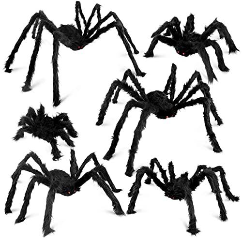 6 Pack Halloween Spider Decorations Realistic Hairy Spiders Set for Indoor, Outdoor & Yard Halloween Decorat