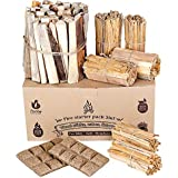 Fire Starters 3in1: kindling Wood + fatwood fire Starter Sticks + Starter logs + fire Starter Squares (Cubes) - Firestarters for Campfires | Camping | Fireplace | Charcoal