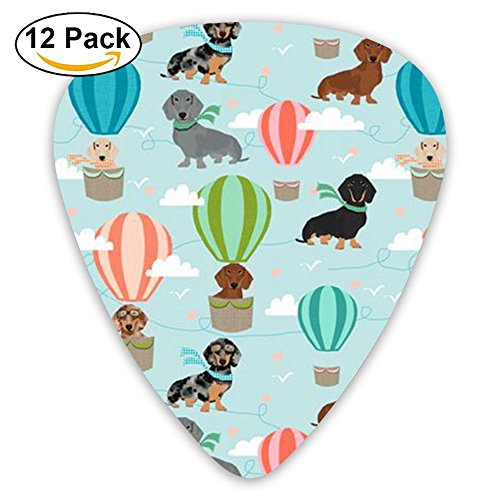 (BBcy Funny Custom Dachshund Dog Animal Celluloid Guitar Accessories/parts Jazz Guitar Picks 0.46mm 0.71mm 0.96mm Girls 12 Packs)
