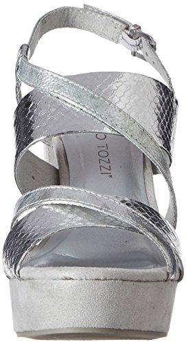 Marco Tozzi 28319, Sandalias con Cuña para Mujer Plateado (Silver Met.com 939)