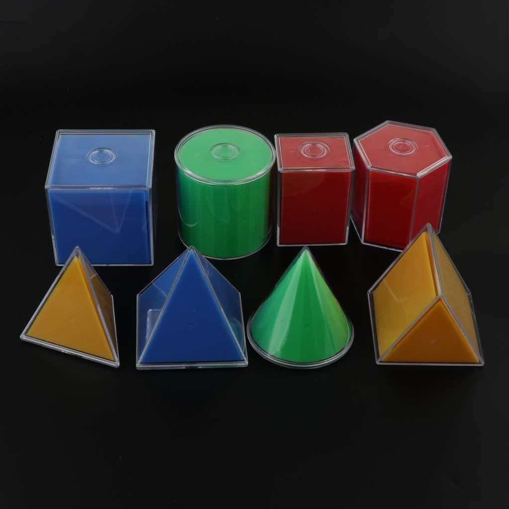 Cubo/ïde C/ône Pyramide Triangulaire, Cube B Blesiya 8pcs Pliant Formes G/éom/étriques Solides Montessori Apprentissage Jouet D/éducation Math pour Les Enfants