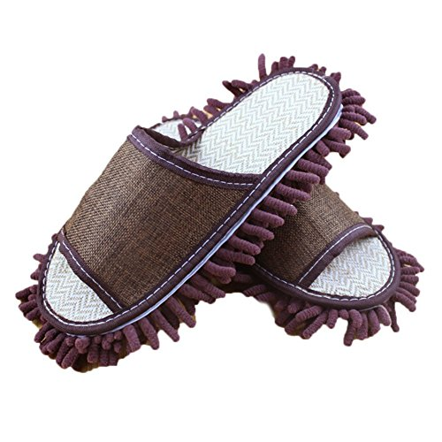 Yi Nuo Chenille Dusting Mopping Slippers Floor Mop Shoes Detachable  Cleaning Tool Brown Fits Mens Size