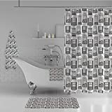 iPrint Bathroom 4 Piece Set Shower Curtain Floor mat Bath Towel 3D Print,Urban Architecture European Windows City Town,Fashion Personality Customization adds Color to Your Bathroom.