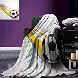 smallbeefly Teen Room Decor Super Soft Lightweight Blanket Soccer Background with Football Colorful Lines Sports Game Digital Display Oversized Travel Throw Cover Blanket Multicolor
