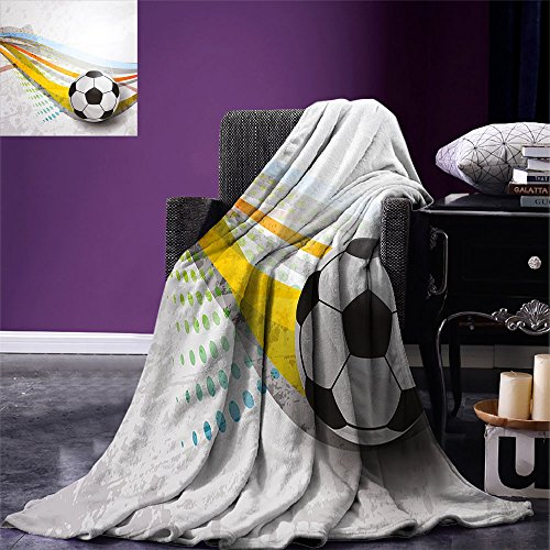 smallbeefly Teen Room Decor Super Soft Lightweight Blanket Soccer Background with Football Colorful Lines Sports Game Digital Display Oversized Travel Throw Cover Blanket Multicolor by smallbeefly