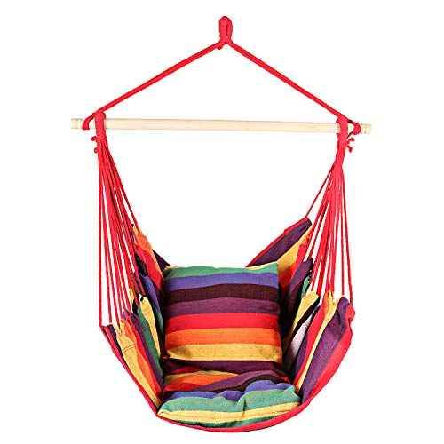 Bathonly Hanging Hammock Chair, Swing Chair with 2-Seat Cushions