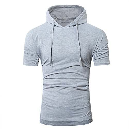 (OrchidAmor 2019 T Shirt, Men's Summer Fashion Hooded Pullover Short Sleeve Blouse Camis Tanks Gray)