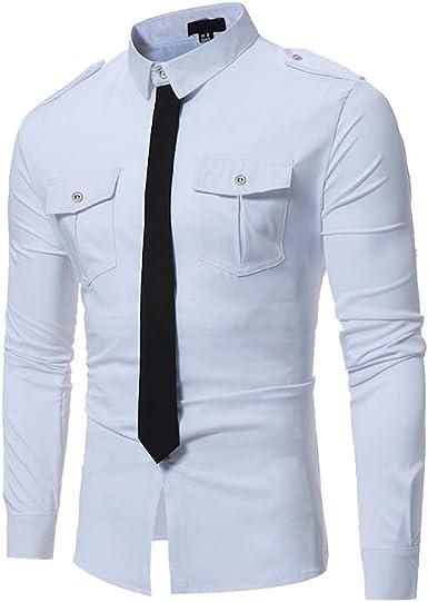 Camisa de Hombre, Internet_Camisa de Vestir de Solapa con Lazo Falso para Hombres, Color sólido, Camisa de Negocios de Manga Larga con Bolsillos(Negro/Vino/Blanco S-XL): Amazon.es: Ropa y accesorios