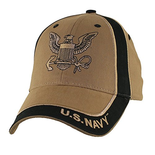 Eagle Crest U.S. Navy Insignia Two Tone Baseball Hat, Coyote Brown