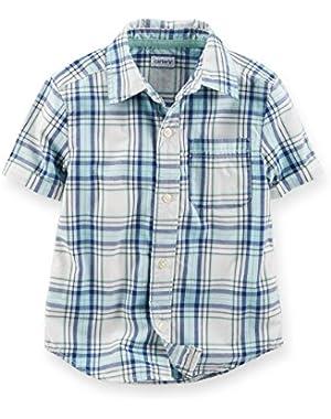 Carter's Boy's S/S Plaid Button Front Shirt (3 Months)