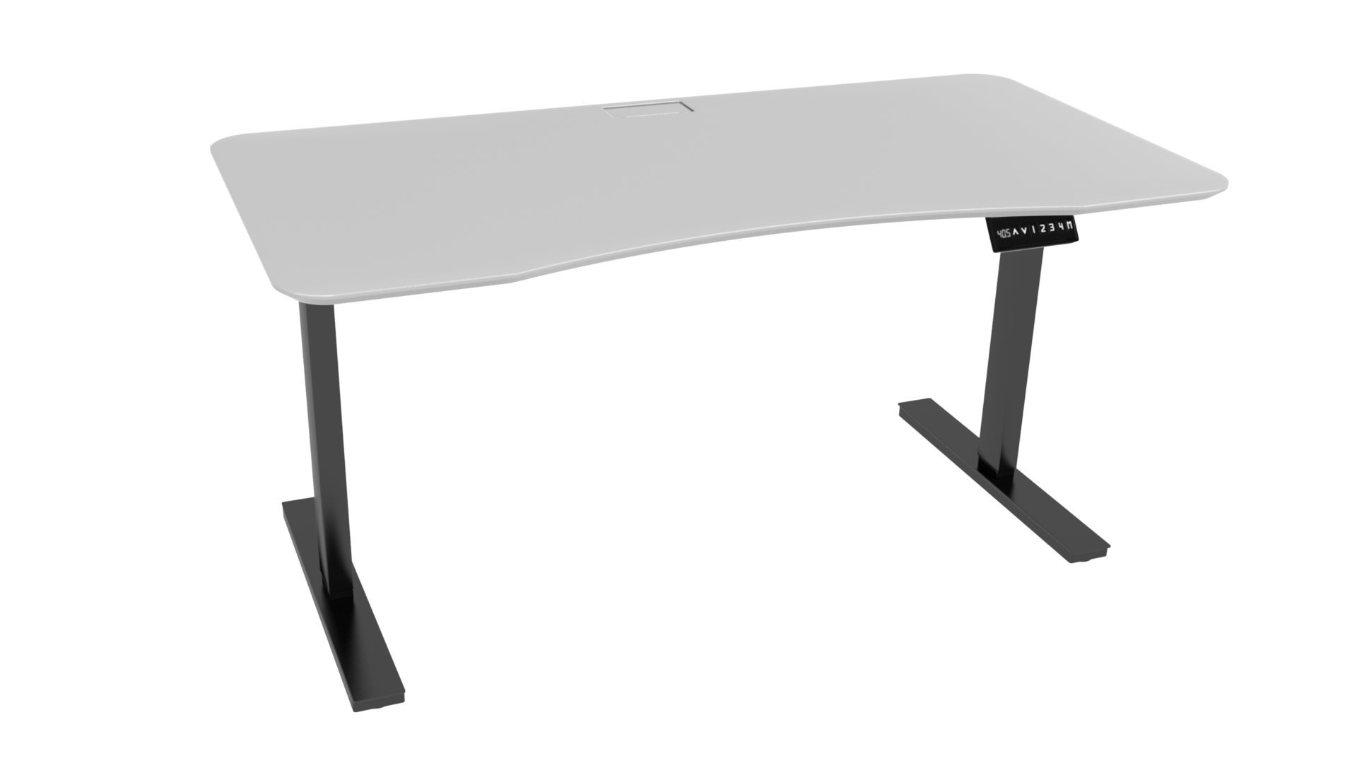 Ergo Elements 40M0100007W5 White Adjustable Height Standing Desk with Electric Push Button Black Base, 5' by 30'',
