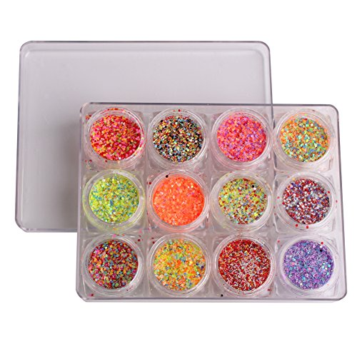 WOKOTO 12 Jars Mixed Color Nail Glitter Powder Mix Strips Hexagon Round Shape Sequins For Acrylic Nail UV Gel Decoration Beauty Manicure Tools 12 Mix Colors Acrylic
