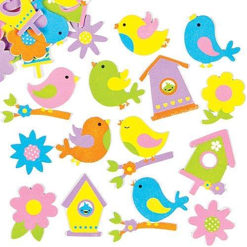 Pegatinas de Espuma con Diseños de Pájaros de Primavera para Decorar Tarjetas, Cuadernos, Manualidades y Collages Infantiles (Pack de 120): Amazon.es: Juguetes y juegos